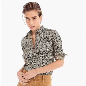 J. Crew Leopard print slim stretch perfect shirt 8
